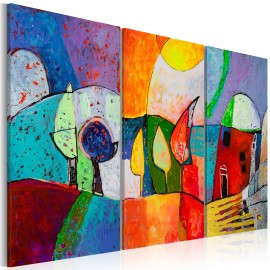 Tableau peint à la main - Paysage multicolore