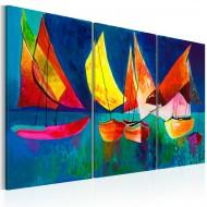 Tableau peint à la main  Voiliers multicolores