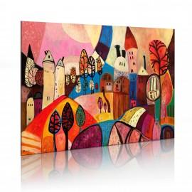 Tableau peint à la main - Village multicolore