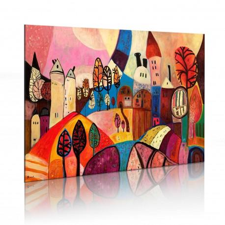 Tableau peint à la main  Village multicolore