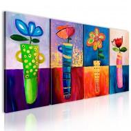 Tableau peint à la main  Arcenciel de fleurs
