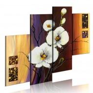 Tableau peint à la main  Orchidée blanche