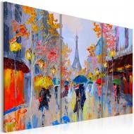 Tableau peint à la main  Rainy Paris