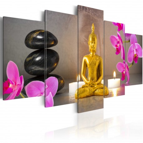 Tableau  Golden Buddha and orchids