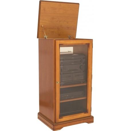 Meuble rack hifi dessus relevable 1 porte merisier beaux meubles pas chers - Meuble de rangement modulable ...