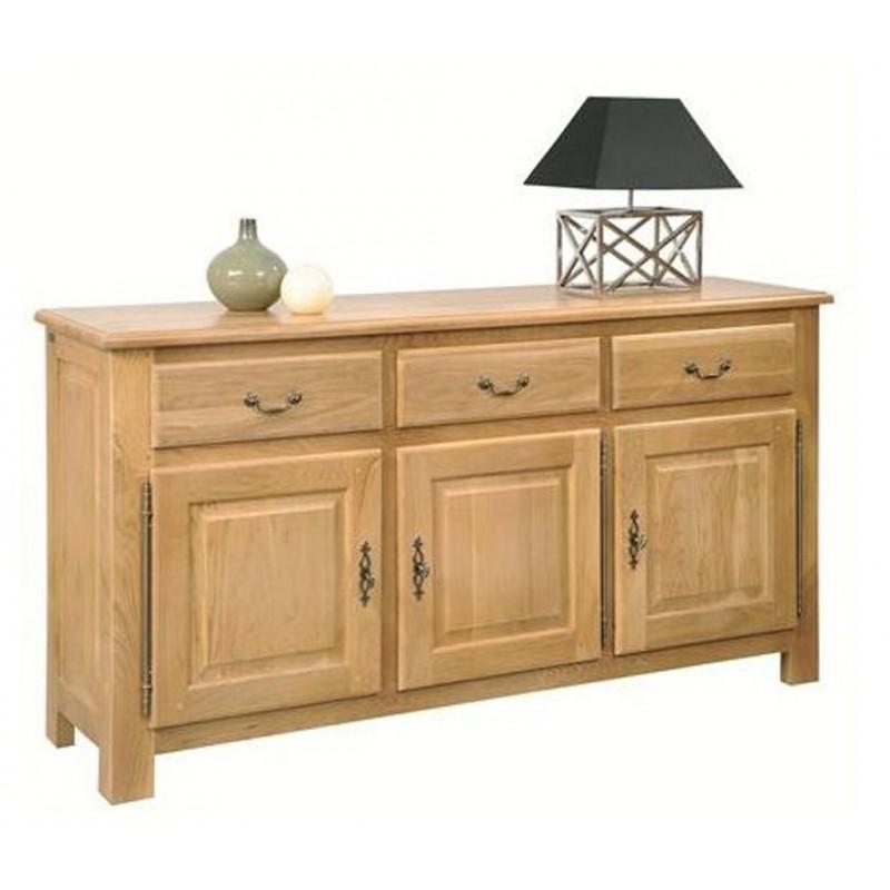 bahut 3 portes 3 tiroirs 100 ch ne massif de france. Black Bedroom Furniture Sets. Home Design Ideas