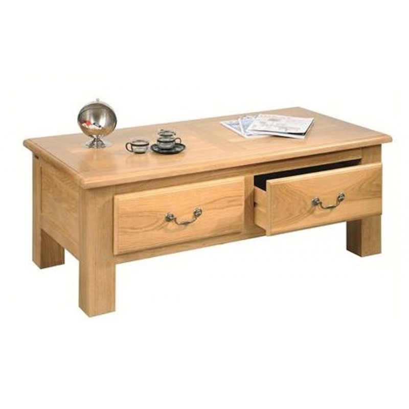 Table basse 2 tiroirs 100 ch ne massif de france - Table basse chene clair massif ...