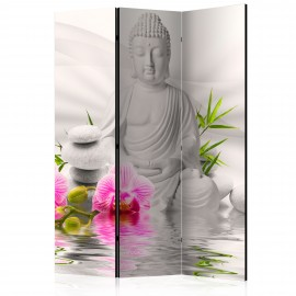 Paravent 3 volets - Buddha and Orchids [Room Dividers]