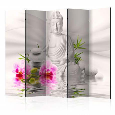 Paravent 5 volets  Buddha and Orchids II [Room Dividers]