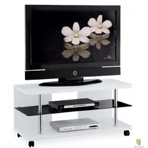 Meuble tv blanc roulettes meilleure inspiration pour vos for Meuble tv roulettes