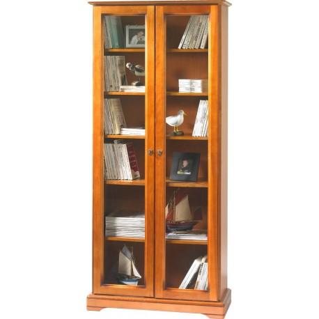 Bibliothèque 2 portes vitrées merisier Louis Philippe 7201V