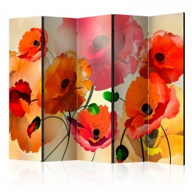 Paravent 5 volets - Velvet Poppies II [Room Dividers]