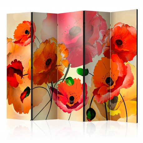 Paravent 5 volets  Velvet Poppies II [Room Dividers]