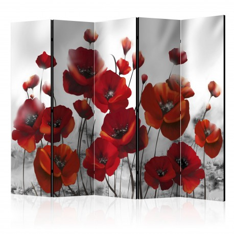 Paravent 5 volets  Poppies in the Moonlight II [Room Dividers]