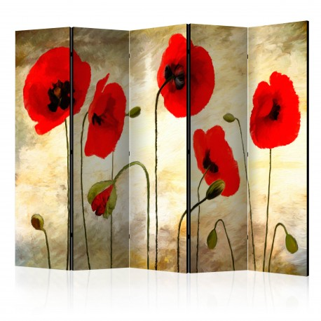 Paravent 5 volets  Golden Field of Poppies II [Room Dividers]