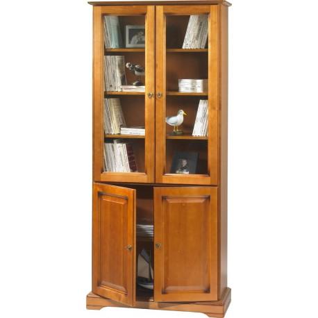 Bibliothèque 4 portes merisier Louis Philippe 7202PV