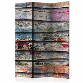 Paravent 3 volets - Colourful Wood [Room Dividers]