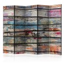 Paravent 5 volets - Colourful Wood II [Room Dividers]