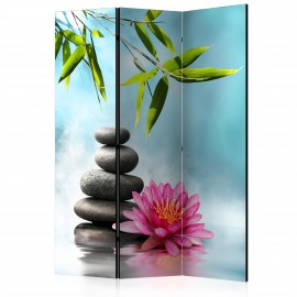 Paravent 3 volets - Water Lily and Zen Stones [Room Dividers]