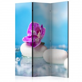 Paravent 3 volets - Pink Orchid and white Zen Stones [Room Dividers]