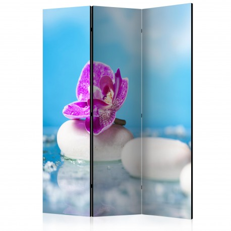 Paravent 3 volets  Pink Orchid and white Zen Stones [Room Dividers]