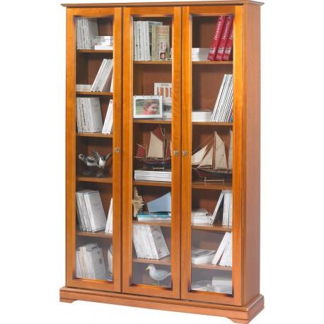 Bibliothèque 3 portes vitrées Louis Philippe 7301V