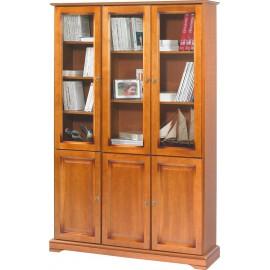 Meuble Bibliothèque Merisier 6 Portes Vitrées
