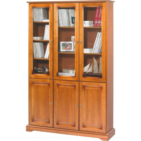 biblioth que merisier louis philippe 6 portes vitr es beaux meubles pas chers. Black Bedroom Furniture Sets. Home Design Ideas