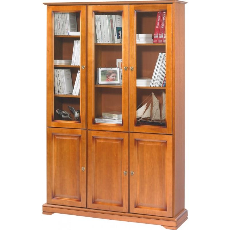 Meuble biblioth que merisier 6 portes beaux meubles pas chers - Les trois suisses meubles ...