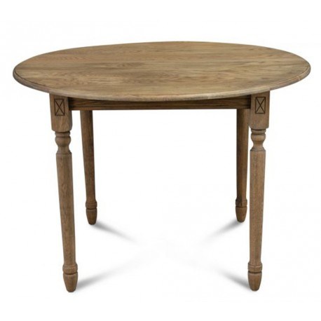 Table Ronde 105 cm + Allonge Chêne Massif