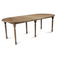 Table Ronde 105 cm + 3 Allonges Chêne Massif