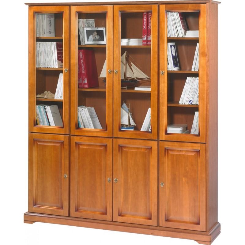 grande biblioth que 8 portes merisier louis philippe beaux meubles pas chers. Black Bedroom Furniture Sets. Home Design Ideas