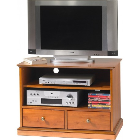 Meuble TV Hi Fi 2 tiroirs sur roulettes merisier 6738