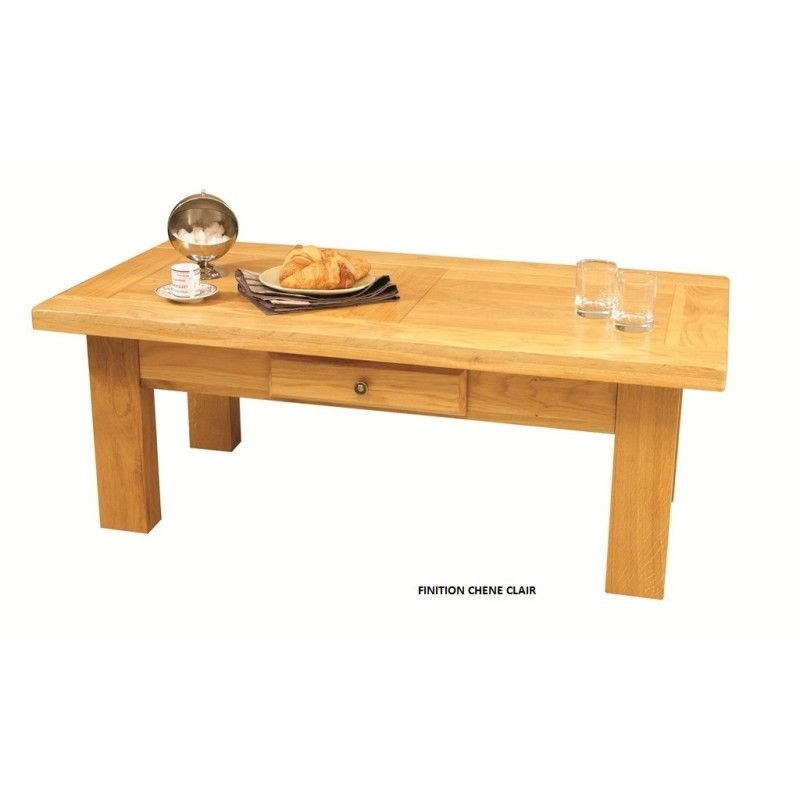 Table basse rectangle ch ne massif la bresse beaux meubles pas chers - Table basse chene clair massif ...