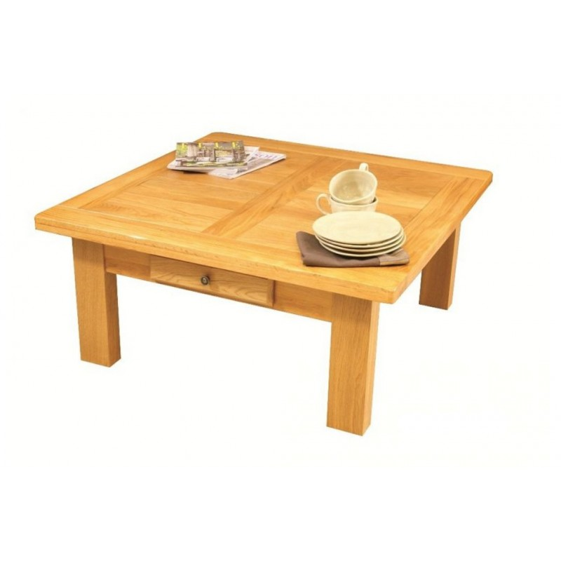 Table basse carree ch ne massif la bresse beaux meubles - Table carree chene clair ...