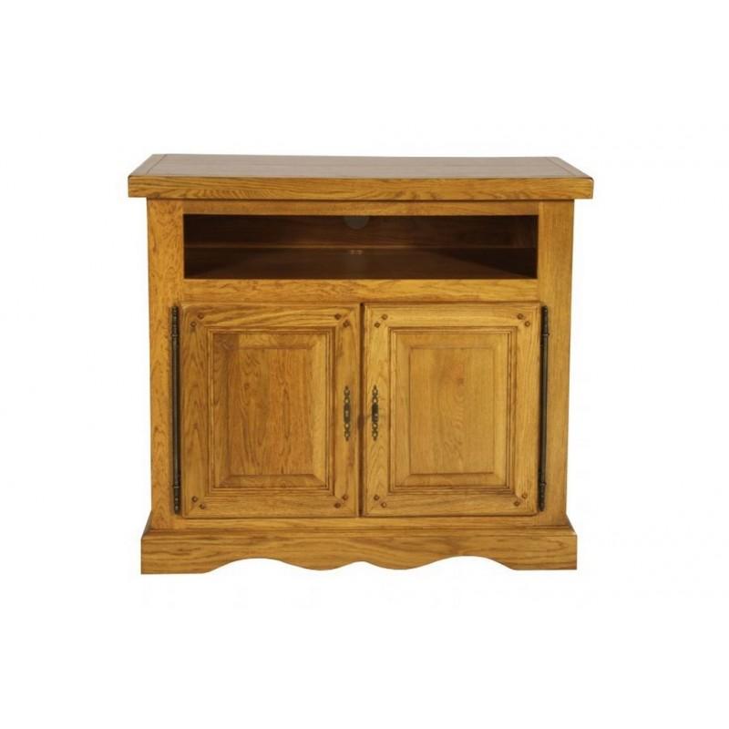 meuble tv 100 ch ne massif de france 2 portes. Black Bedroom Furniture Sets. Home Design Ideas