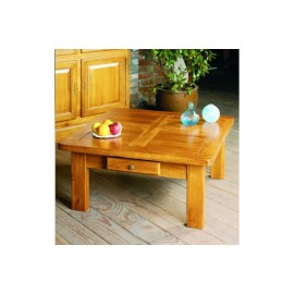 Table basse carree ch ne moyen beaux meubles pas chers - Table basse carree chene massif ...
