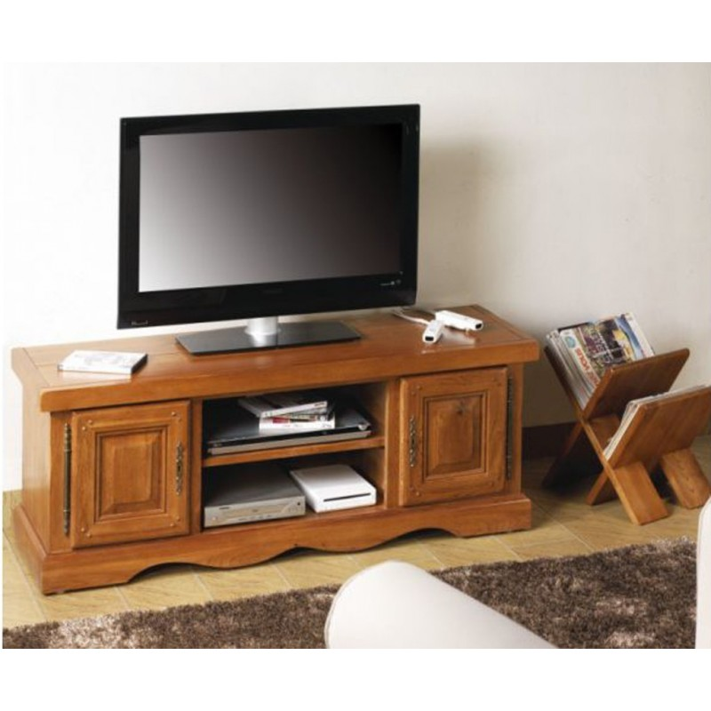 Meuble tv ch ne moyen beaux meubles pas chers - Meuble bas chene massif ...