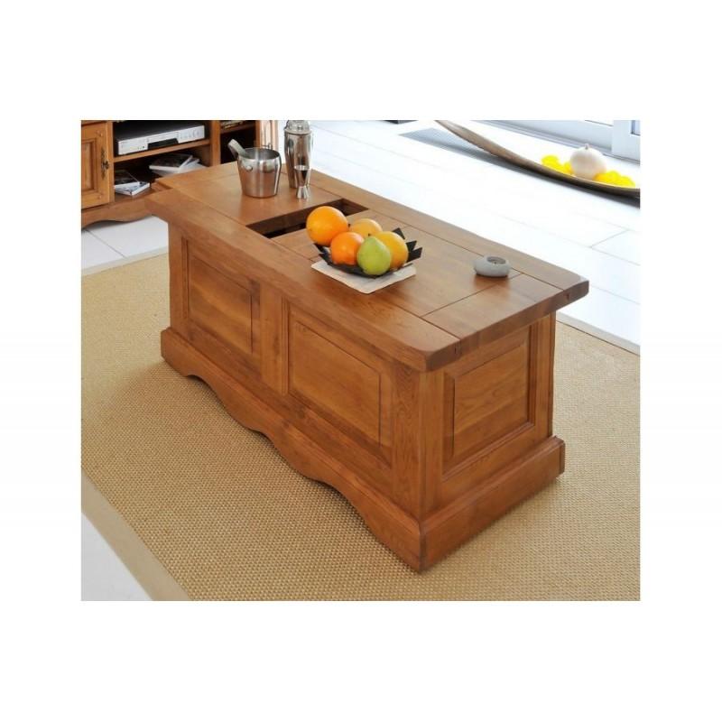 Table basse bar ch ne moyen beaux meubles pas chers - Table basse chene clair massif ...