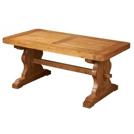 Table monastere rectangulaire ch ne moyen pied lyre beaux meubles pas chers - Table en chene massif rustique ...