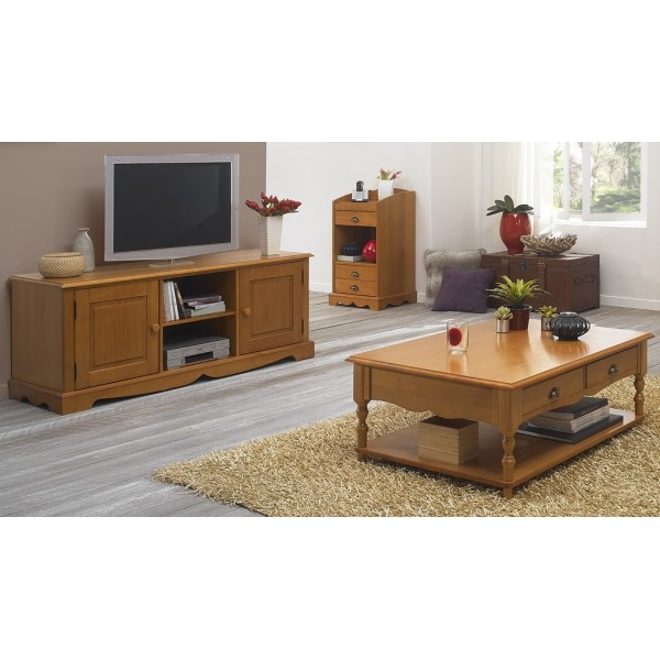 Ensemble table basse et meuble tv pin miel beaux meubles for Ensemble meuble tv table basse