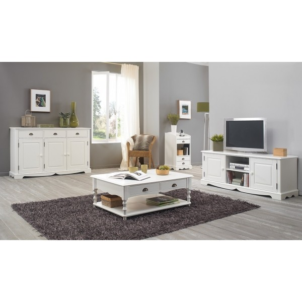 ensemble meuble tv et table basse blancs beaux meubles. Black Bedroom Furniture Sets. Home Design Ideas