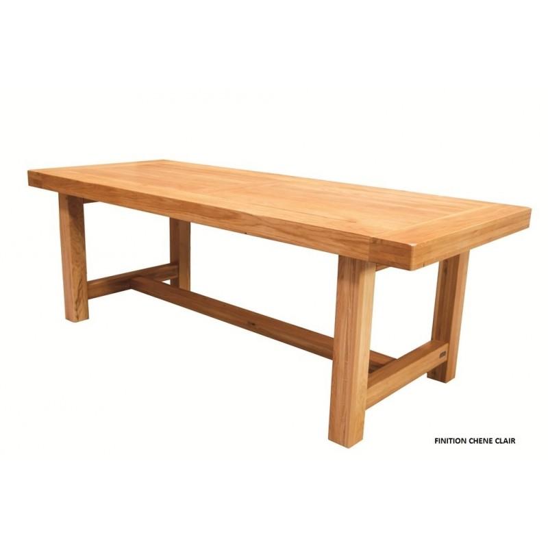 Table De Ferme Rectangulaire Chene Clair Pied Carre Beaux Meubles Pas Chers