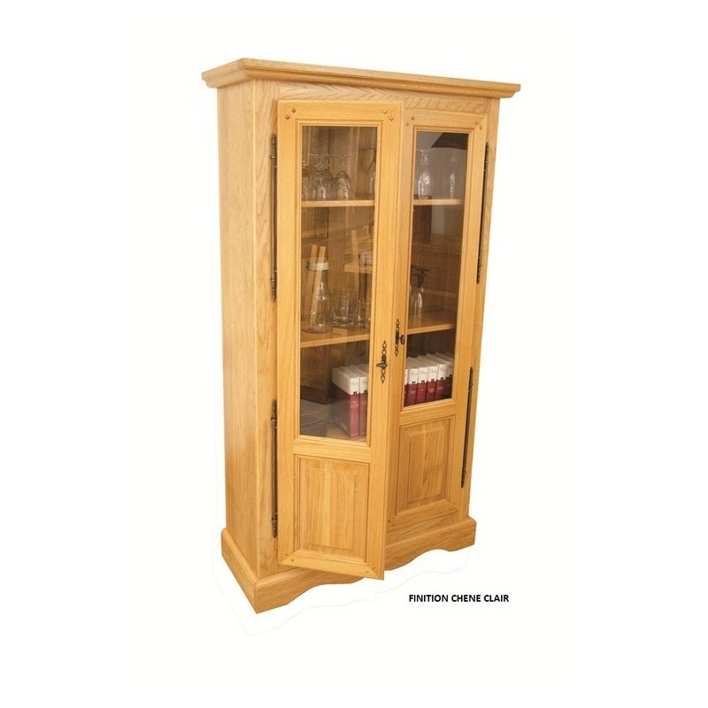 bibliotheque 2 portes semi vitrees ch ne clair beaux meubles pas chers. Black Bedroom Furniture Sets. Home Design Ideas
