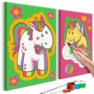 Tableau à peindre par soimême  Licornes (vert et rose)