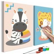 Tableau à peindre par soimême  Zèbre et léopard