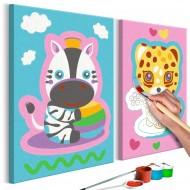 Tableau à peindre par soimême  Zèbre et léopard (rose et bleu)