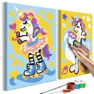 Tableau à peindre par soimême  Licornes amusantes