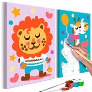 Tableau à peindre par soimême  Lion et girafe