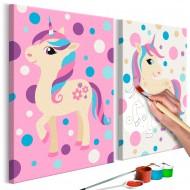 Tableau à peindre par soimême  Licornes (couleurs pastel)